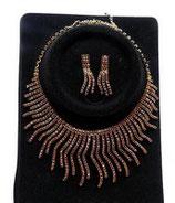 Parure bijoux fantaisie strass bordeaux, métal doré PAR037