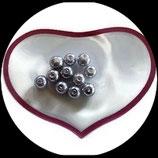 lot de 11 perles de verre nacrées grises 8 mm création bijoux Réf : 1552