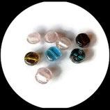 Perles palets ronds mélange - lot 8 perles verre palets ronds en mélange création bijoux Réf : 1395