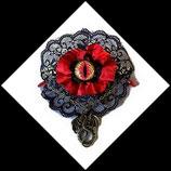 barrette cheveux gothique  l'oeil du dragon dentelle noire et rouge création Mamiechantal-screations