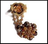Ensemble bracelet bague fleur strass ambrés, métal doré BRA007