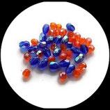 Perles verre facettes  mélange 5 mm bleu royal et 4 mm  orange- lot 84 perles verre à facettes création de bijoux , broderie - Réf : 1436