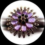 Grosse bague élastique fleur 3D strass couleur rose mauve métal doré BAG121