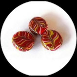 Perles palets ronds en verre 19 et 20 mm rouge et multicolore  X 3 perles Réf : 1074