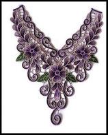 faux col à coudre brodé fleur mauve violet vert plastron, applique couture mercerie
