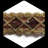 Galon or, marron à sequins 5.5 cm vendu au mètre GAL004
