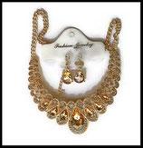 Parure bohème collier et boucles d'oreilles dorés, strass ambre doré clair  PAR019