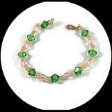 Bracelet fantaisie perles rose, vert et jaune - bracelet perles fait main