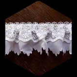 Volant dentelle, tissu polyester blanc avec sequins fleurs 4 cm DEN060