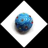 Bouton snap fimo et strass motif bleu 19 mm Réf : 1464