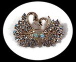 Broche épingle dorée couple de cygnes strass BRO112