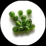 Perle en verre ronde  8 mm vert à feuille d'argent x 6 Réf : 386