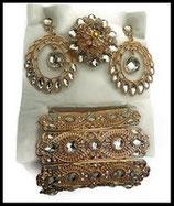 Parure bijoux fantaisie 3 pièces strass naturels, métal doré PAR031