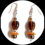 boucles oreilles percées marron et ambre fait main