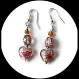 boucles pendants oreilles percées  rose et argent coeur perles