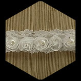Dentelle blanche fleurs et perles 3 cm X 50 cm DEN013
