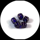 Perles cube verre bleu et or - lot 4 perles verre cubes ou dés - fourniture création bijoux - Réf 1401