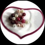 Lot de 17 perles de verre nacrées camaïeu rouge, rose, blanc 8 mm création bijoux Réf : 1560