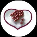 Lot 18 perles nacrées rose poudré moyen 8 mm pour création de bijoux Réf 1513.