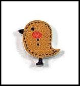 Bouton bois forme  oiseau  25 x 20 mm de couleur marron