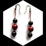 Pendant oreilles fil aluminium argent, perle magique rouge