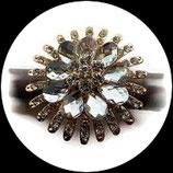 Grosse bague élastique fleur 3D strass naturels métal doré BAG128