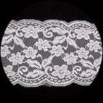 Dentelle élastique motifs fleurs blanc 15 cm DEN108