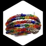 bracelet manchette arc en ciel perles de rocaille - bijou fait main