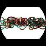 Barrette fil aluminium vert, rouge et doré BAR017