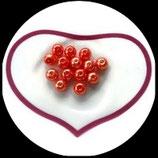 lot de 14 perles nacrées orange feu  8 mm création bijoux Réf : 1545