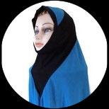 Cagoule ou hijab adulte bleu et noir  pour costume CAG016