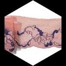 Dentelle fine élastique rose saumonée, bleu 6 cm GAL099.