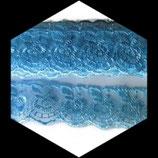Dentelle brodée fleurs organza bleu 4 cm DEN085