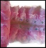 Dentelle volant rose 4 épaisseurs à sequins DEN073