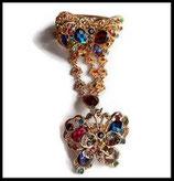 Bracelet bague papillon strass multicolores, métal doré BRA006