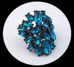 Bague élastique strass turquoise BAG058