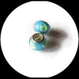 Perle style pandora ®  14 x 9 mm bleu motifs  verts et blancs  Réf : 221