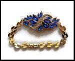Bracelet strass bleu royal chaine gros maillons dorés BRA021