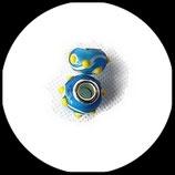 Perle imitation pandora ®  14 x 9 mm turquoise picots jaunes Réf : 199