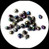 Perles de verre poires à facettes irisées 8 X 6 mm X 10 perles Réf : 852