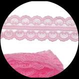 Dentelle polyester rose  4.5 cm X  9  m. DEN030