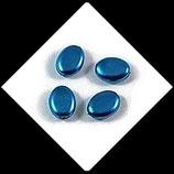 Palet ovale nacré 12 x 9 mm turquoise X 4 perles palets Réf : 708