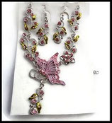 Parure papillon rose collier et boucles d'oreilles argentés, strass  PAR022