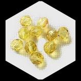 Perles de verre à facettes jaune transparent  8 X 7 mm, lot de 10 perles Réf : 883