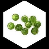 Perle en verre ronde 6 x 7 mm vert à feuille d'argent lot de 9 perles Réf : 1014