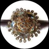 Grosse bague élastique 3D strass naturels métal doré BAG143
