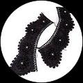 Faux col dentelle noire brodée perles et strass FC0109