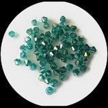 Toupies ou bicones en cristal de verre vert d'eau 4 mm X 200 perles Réf : 851.