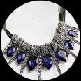 Collier pendants gouttes strass bleus, métal argent vieilli COL002