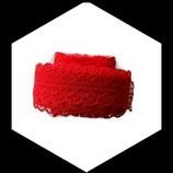 Dentelle polyester rouge  3 cm X  9 m  DEN037